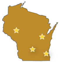 Wisconsin map with stars representing Appleton, Eau Claire, Madison and Milwaukee offices
