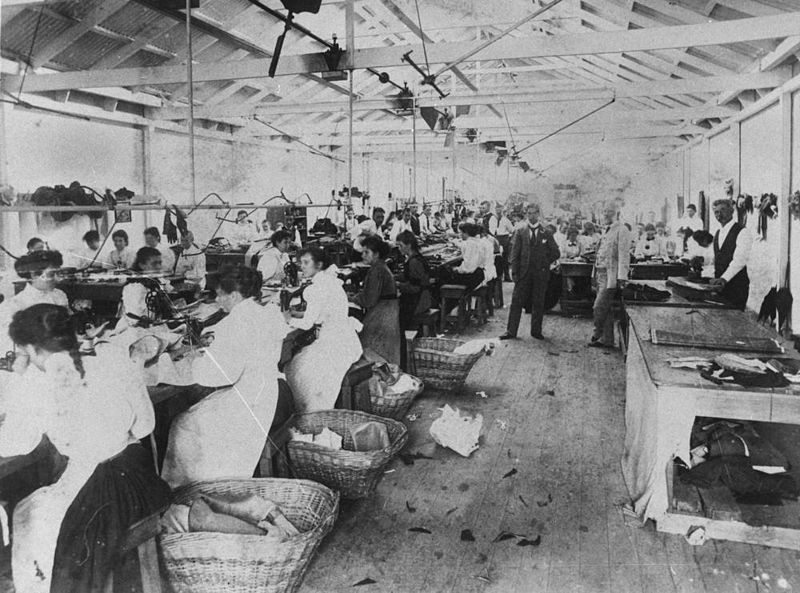 Workers in a 19th century factory.